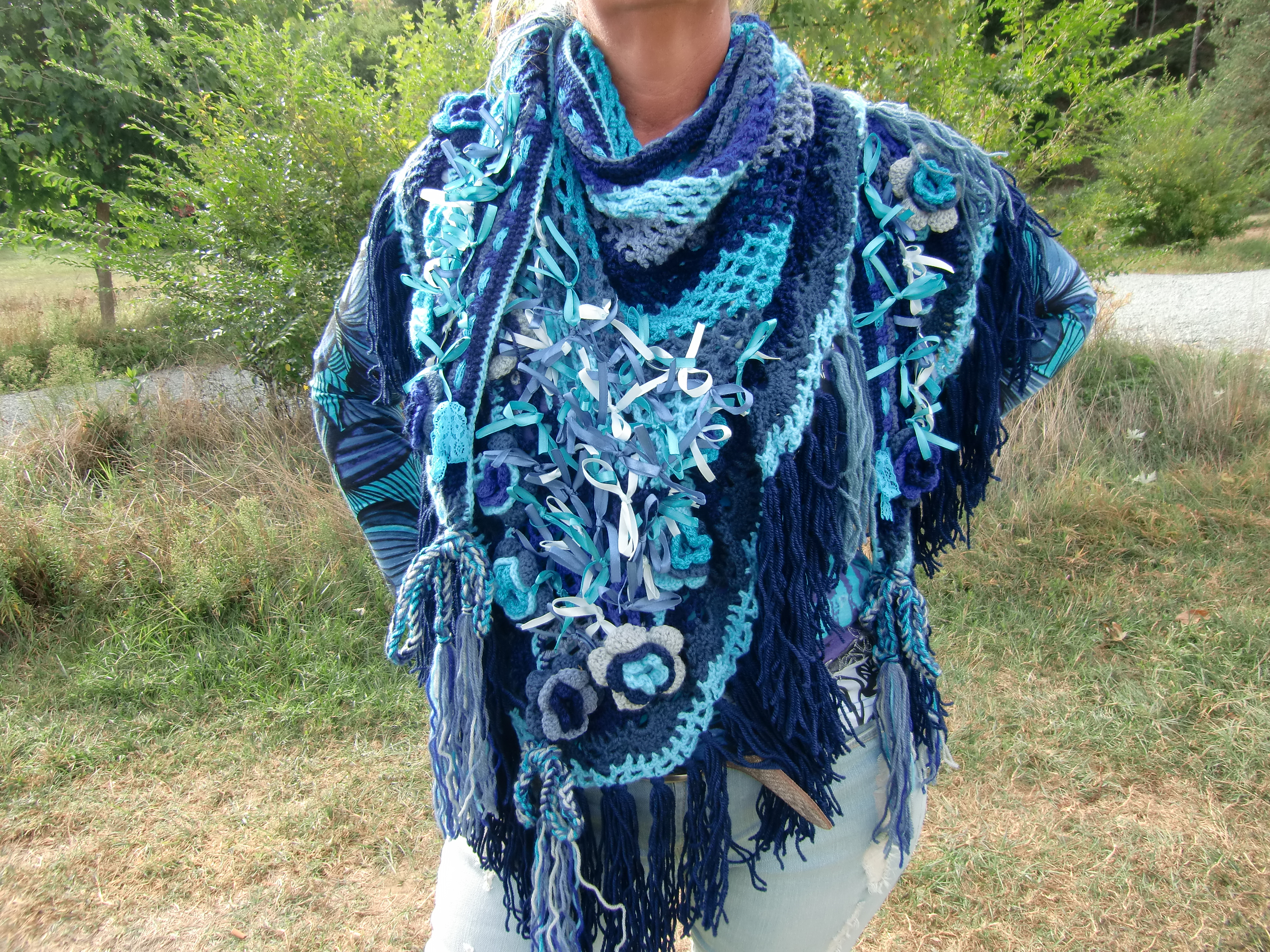 Super Driehoek sjaal blauw - La Volpe Moda #IG14