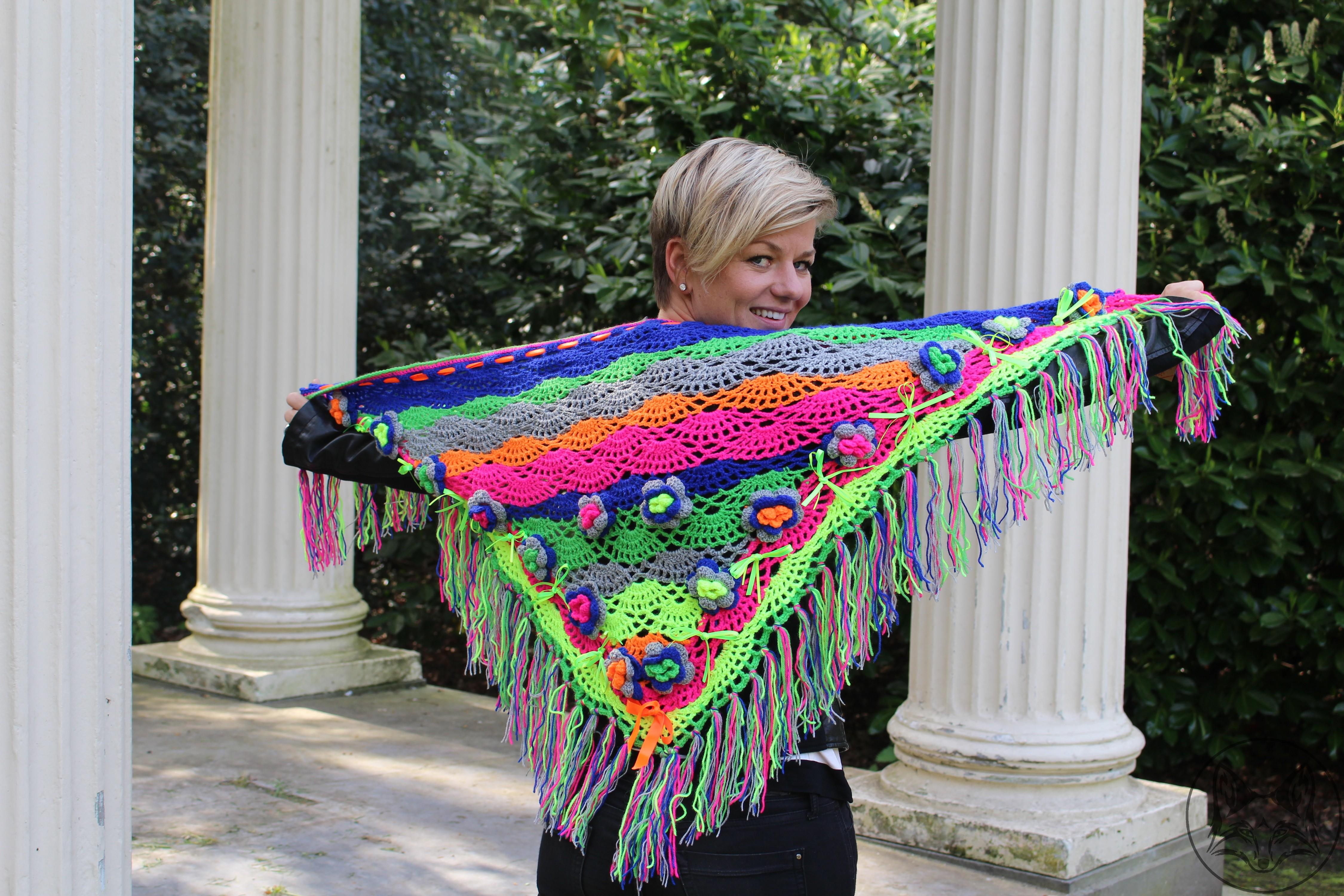 Magnifiek Driehoek sjaal neon/fluor kleuren - La Volpe Moda @TY55